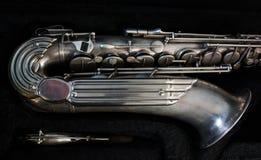 Srebny saksofon w swój skrzynce Zdjęcie Stock