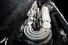 Srebny saksofon w swój skrzynce Zdjęcia Stock