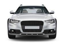 Srebny samochód - frontowy widok Fotografia Stock