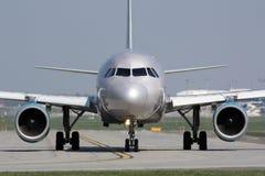 Srebny samolot Zdjęcia Royalty Free