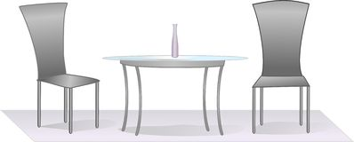 Srebny stół i krzesła Obrazy Stock