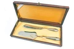 Srebny tortowy nóż i szpachelka w pudełku Obrazy Royalty Free