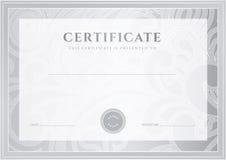 Srebny świadectwo, dyplomu szablon. Nagroda tupocze Obraz Stock