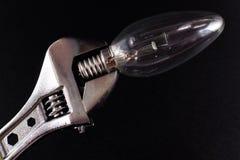 Srebny wyrwanie Zaciska Kruchego Lightbulb Obraz Royalty Free