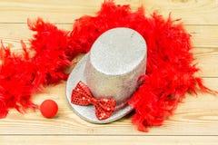 Srebny wysoki kapelusz, czerwony puszysty piórkowy boa, czerwony łęku krawat i czerwieni clo, Zdjęcie Royalty Free