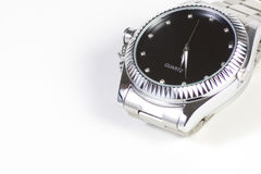 SREBNY zegarek NA BIAŁYM tle Fotografia Stock