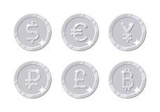 Srebnych monet różna waluta ilustracji