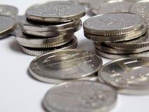 Srebnych monet szczegółu makro- fotografia Fotografia Stock