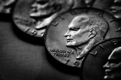 Srebnych monet usa pieniądze Monetarny dla bogactwa i bogactw obrazy royalty free