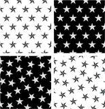 Srebra & czerń koloru Nautycznej gwiazdy Bezszwowy wzoru set Wyrównujący & Przypadkowy royalty ilustracja