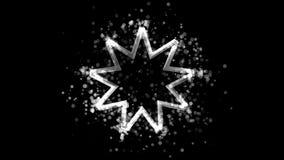 Srebra dziewięć wskazująca gwiazda, bahaism religijny symbol na przejrzystym tle royalty ilustracja