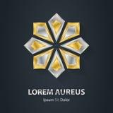 Srebra i złota gwiazdowy logo Nagrody 3d ikona Kruszcowe logotyp zastępcy Obrazy Stock