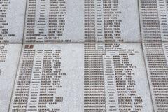 Srebrenica, Bosnië - Herzegovina, 16 Juli 2017: Potocari, Srebrenica-gedenkteken en begraafplaats Stock Fotografie