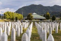 Srebrenica, Bosnië - Herzegovina, 16 Juli 2017: Potocari, Srebrenica-gedenkteken en begraafplaats Royalty-vrije Stock Fotografie