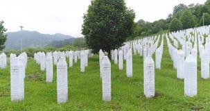 Srebrenica, Bosnia-Herzegovina, June 01 2020: Srebrenica-Potocari memorial and cemetery for the victims of the 1995 massacre.  stock footage