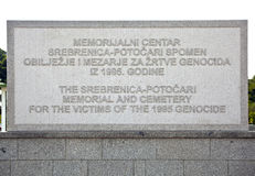 Srebrenica - Potocari Memorial Cemetery, Bosnia. Srebrenica-Potočari Memorial and Cemetery for the Victims of the 1995, Potočari is a village in eastern Bosnia stock image
