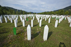 Srebrenica - Potocari Memorial Cemetery, Bosnia. Srebrenica-Potočari Memorial and Cemetery for the Victims of the 1995, Potočari is a village in eastern Bosnia stock photos