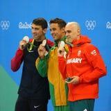 Srebrnego medalisty Michael Phelps usa, Laszlo Cseh hun Le Clos RSA podczas medal ceremonii i Czad, (L) Obraz Royalty Free