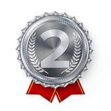 Srebrnego Medalu wektor Najlepszy Pierwszy plasowanie Zwycięzca, mistrz, liczba Jeden 2nd miejsca osiągnięcie Kruszcowa zwycięzca Fotografia Stock