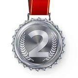 Srebrnego Medalu wektor Osrebrza 2nd miejsce odznakę Sport gry srebra wyzwania nagroda czerwone wstążki odosobniony Gałązka Oliwn Zdjęcia Stock