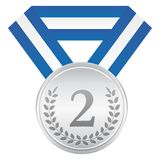 Srebrny medal 2nd miejsce Ceremonii wręczenia nagród ikona Obrazy Royalty Free