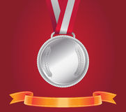 Srebrny Medal, wektor Zdjęcie Stock