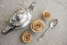 srebrny teapot starożytnym Zdjęcia Stock
