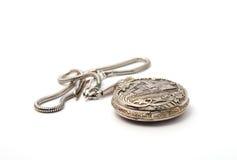 srebrny zegarek kieszonkowy Zdjęcia Stock