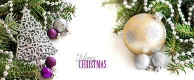 Srebro, śmietanka i purpura Bożenarodzeniowi ornamenty, Obrazy Stock