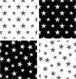 Srebro, czerń koloru Duży & Mały Nautyczny Gwiazdowy Bezszwowy wzoru set Wyrównujący & Przypadkowy ilustracja wektor