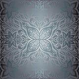 Srebro Kwitnie, Kwiecistego błyszczącego dekoracyjnego rocznika tapetowego tła mody mandala modny projekt royalty ilustracja