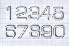 Srebro liczby Fotografia Stock