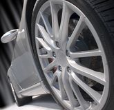 srebro sportowy samochód Zdjęcia Royalty Free