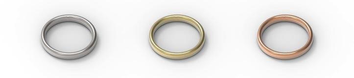 Srebro, złoto, groszaków pierścionki odizolowywający na białym tle - ludzki charakter - 3d rend ilustracja wektor