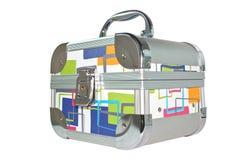 srebrzysta szkatuły walizka Obrazy Stock