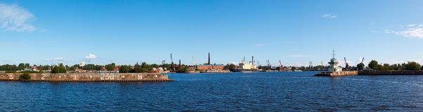 Srednyaya harbor town of Kronstadt Stock Photo