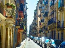 Sreet im alten Viertel von Barcelona Stockbild