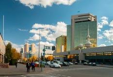 04 10 2011 Sreets van Nur-Sultan Astana De nur-sultan is de hoofdstad van Kazachstan en de second-largest stad in land royalty-vrije stock foto's