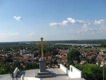 Sremski Karlovci, Gezichtspunt, Stad, de rivier van Donau, Vojvodina, Servië royalty-vrije stock afbeelding