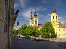 Sremski Karlovci. Image of The Orthodox Cathedral of St. Nicholas and the Roman Catholic Church in Sremski Karlovci, Vojvodina, Serbia Stock Photography