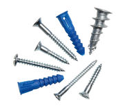 Srews and anchors. Various screws and metal and plastic anchors Stock Photos