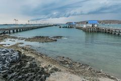 Sri-chung island harbor when storm is coming. stock image