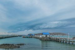 Sri-chung island harbor in Thailand when storm coming. royalty free stock photo