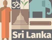 Sri Lanka affisch Plan symbol kantlagrar låter vara vektorn för oakbandmallen royaltyfri illustrationer