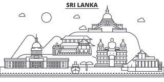Sri Lanka arkitekturlinje horisontillustration Linjär vektorcityscape med berömda gränsmärken, stadssikt, design vektor illustrationer