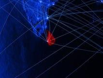 Sri Lanka auf blauer digital erzeugter Karte mit Netzen Konzept der internationaler Reise, der Kommunikation und der Technologie  vektor abbildung
