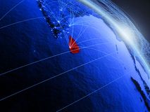Sri Lanka auf blauer blauer digitaler Kugel stock abbildung