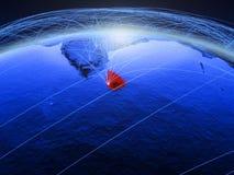 Sri Lanka auf blauer digitaler Planet Erde mit dem internationalen Netzwerk, das Kommunikation, Reise und Verbindungen darstellt  vektor abbildung