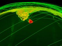 Sri Lanka auf digitaler Planet Erde mit dem internationalen Netzwerk, das Kommunikation, Reise und Verbindungen darstellt Abbildu lizenzfreie abbildung