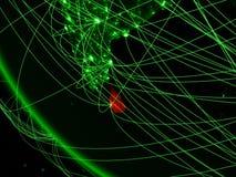 Sri Lanka auf grüner Planet Erde vom Raum mit Netz Konzept der internationalen Kommunikation, der Technologie und der Reise 3d lizenzfreie abbildung
